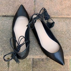Loeffeler Randall Black Leather Tie-up Flats